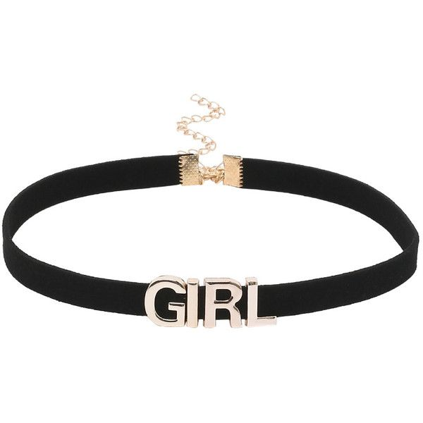 Girl Letter Black Velvet Choker (13 BRL) ❤ liked on Polyvore featuring jewelry, necklaces, chokers, accessories, black, velvet jewelry, letter jewelry, round initial necklace, letter necklace and velvet choker