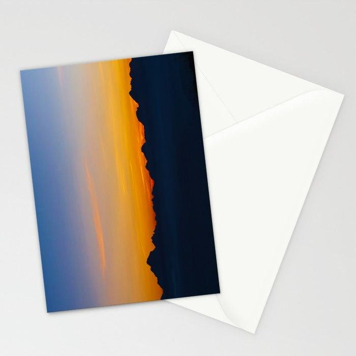 Wispy Mountain Glow Stationery Cards by Mixed Imagery | Society6