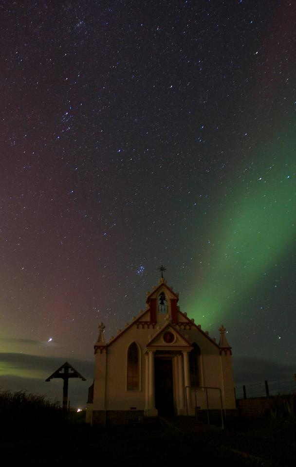 Northern Lights over the Italian Chapel, Orkney