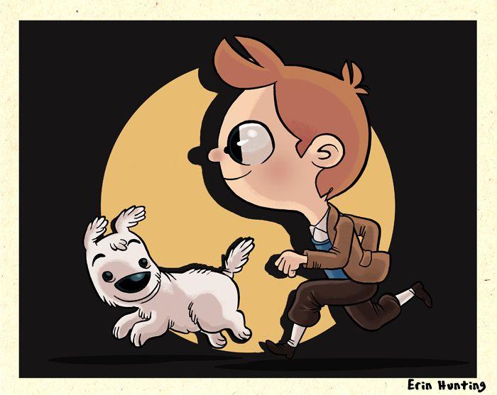 Erin Hunting Illustration: Tintin and Snowy