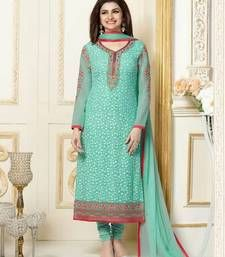 Buy Light green embroidered georgette unstitched salwar with dupatta dress-material online