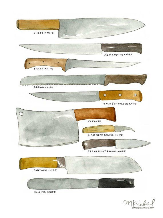 Kitchen Knives Various Types Of Chef S Blades Diagram 9x12 Watercolor Illustration Art Print Kitchen Tools Art Kitchen Knives Watercolor Art Prints Kitchen Art