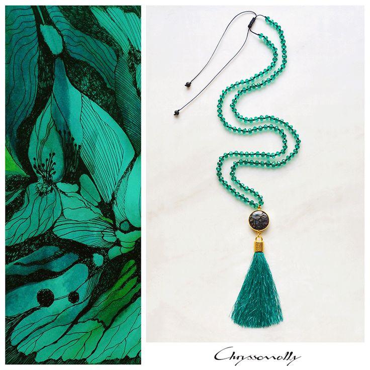 JEWELRY   Chryssomally    Art & Fashion Designer - Emerald green long boho luxe tassel necklace