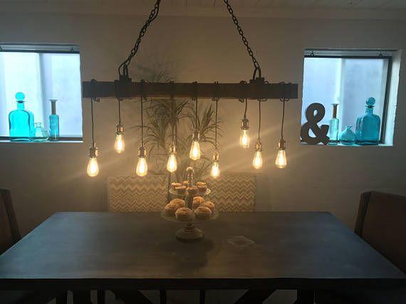 A mano 9 barnwood luz viga luminaria con hierro soportes de envío gratis (led bombillas incluidas)