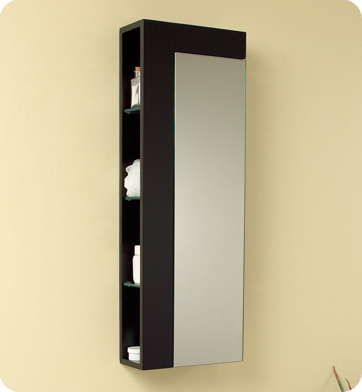 Fresca Espresso Tall Bathroom Storage Cabinet - Large Mirror Door & Side Shelves