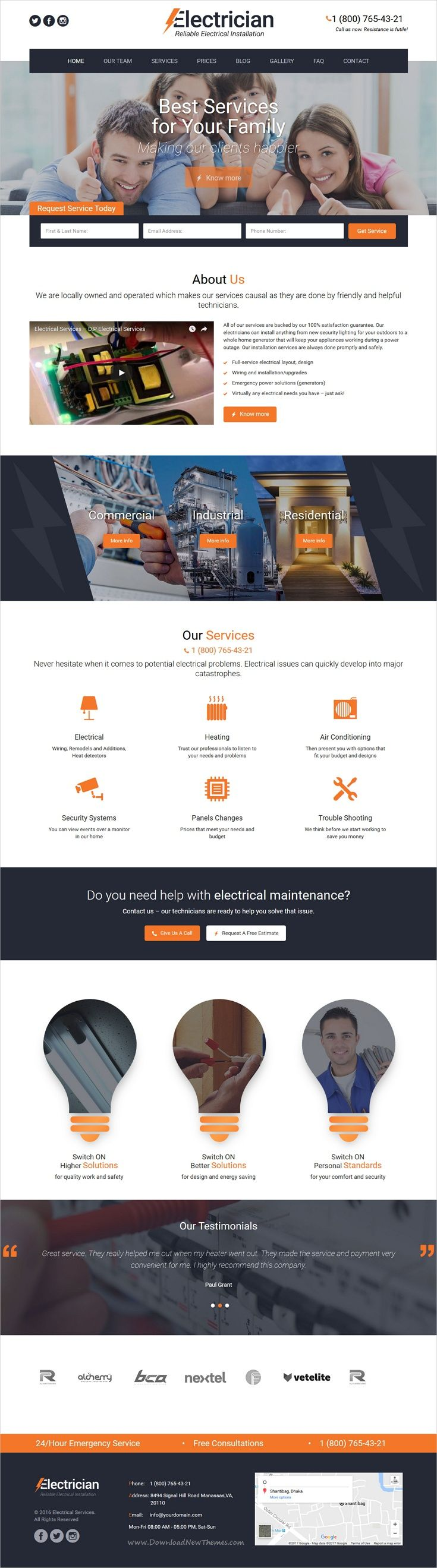 Electrician is a modern, clean and professional #WordPress theme for #webdev #electricity services websites download now➩ https://themeforest.net/item/electrician-electricity-services-wordpress-theme/19212980?ref=Datasata