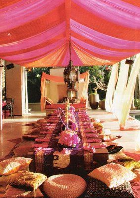pretty draping curtains and big comfy cushions - maybe i could do something like this for my 40th