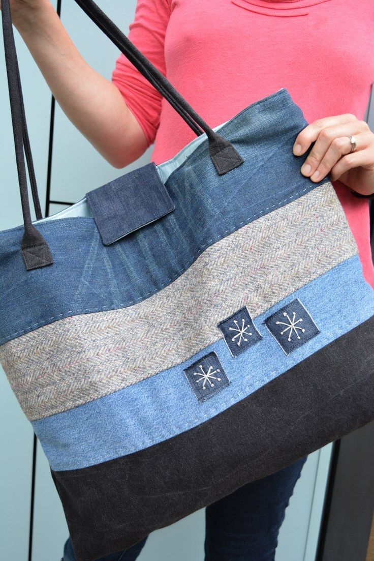 Love reusing your old jeans? Follow this tutorial on how to make a large denim tote bag. Learn how to make padded handles.