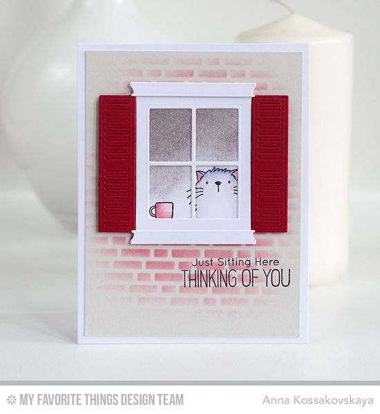 Handmade card from Anna Kossokovskaya featuring Birdie Brown Cool Cat stamp set and Die-namics, Classic Window Die-namics, and English Brick Wall stencil #mftstamps