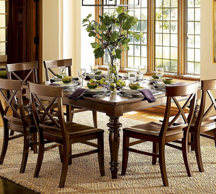 Country White Themed Dining Room Inspirations With Simple Square Shaped Table That Have Centerpiece Plant