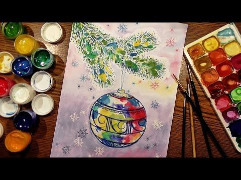 (24) Speed Painting | Christmas Sphere | Technique Monotype | Gouache | IOTN - YouTube