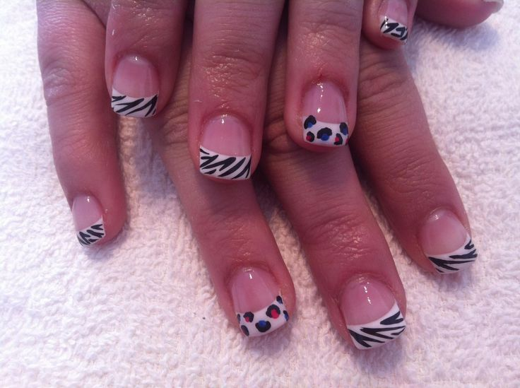 Multicoloured leopard & zebra print french nails #sittingpretty