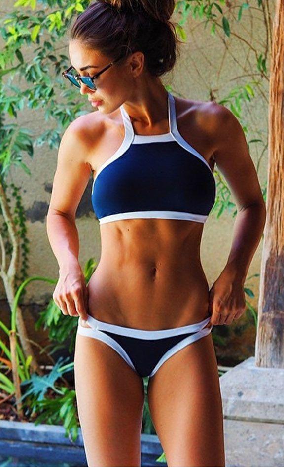 Simple Navy and White Halter Bikini Sets
