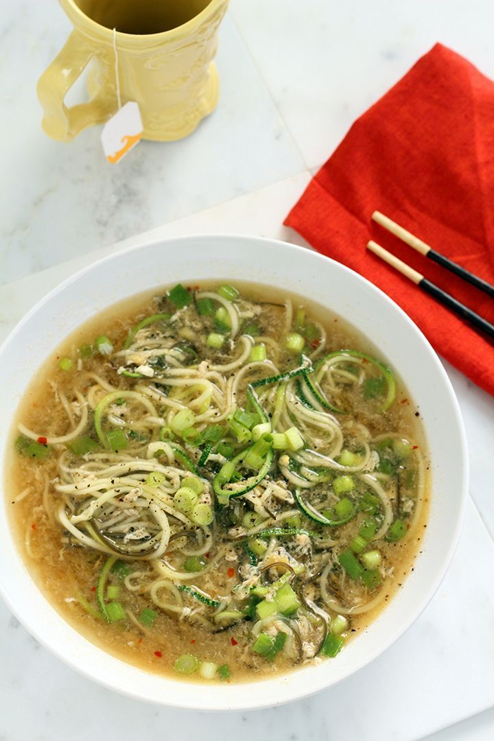 Spicy Ginger Scallion and Egg Drop Zucchini Noodle Bowl