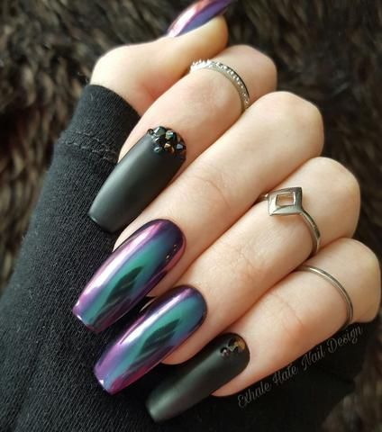 Alien Chrome Crystals Glue on Fake Nails - Long Coffin Nails - Press On Nails - Gel Nails - Rainbow Swarovski