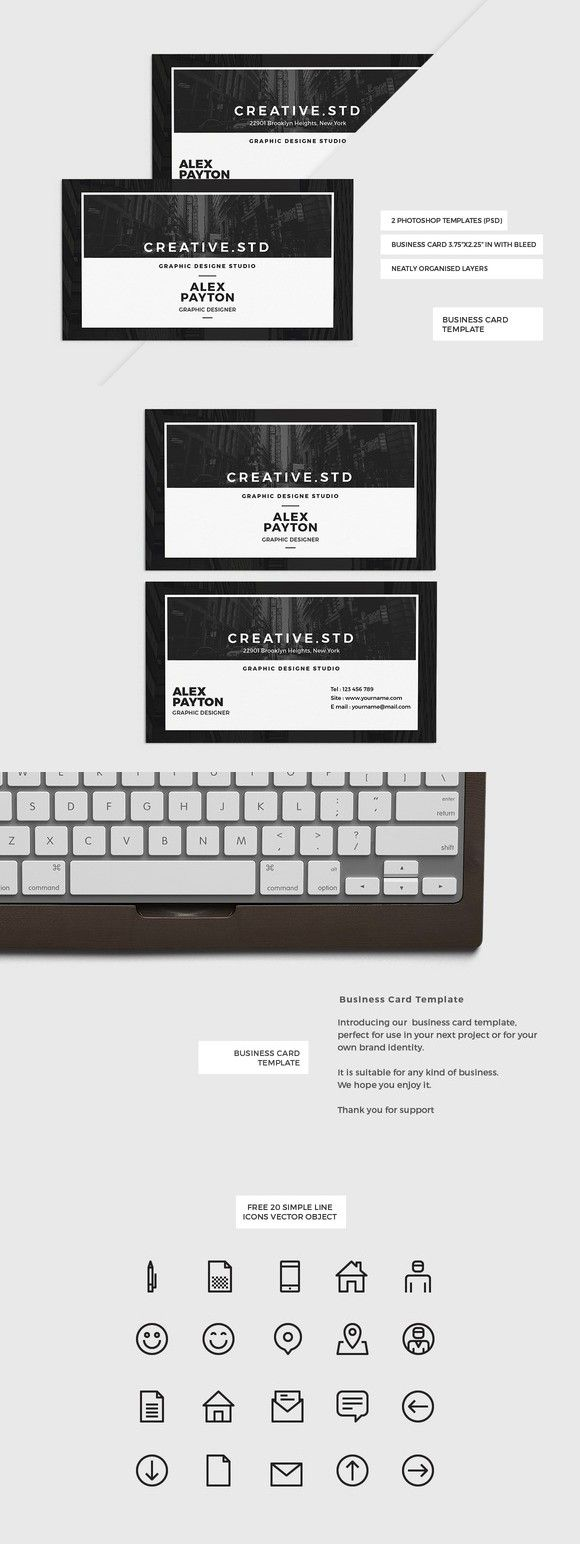 1175 best business card templates images on pinterest business modern business card template reheart Images