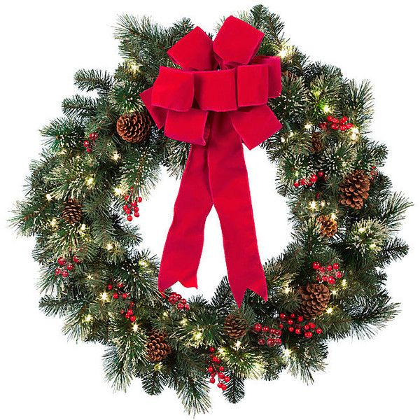 """Improvements Winter Elegance Lighted Christmas Wreath-36"""" ($80) ❤ liked on Polyvore featuring home, home decor, holiday decorations, christmas, christmas decor, winter, deco, dolls, pre lit wreath and lighted christmas decor"""