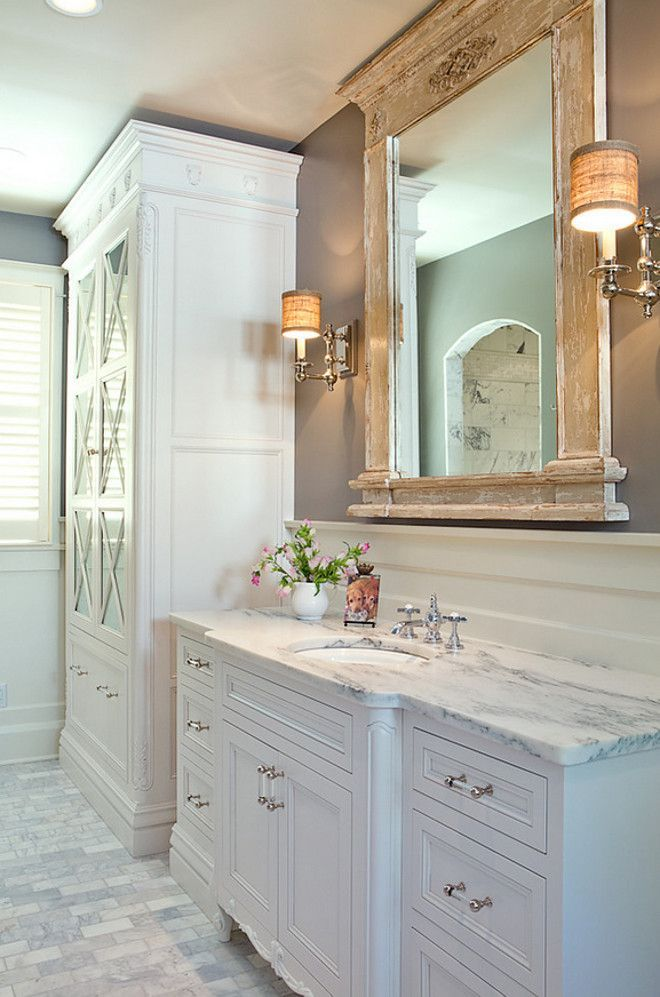 Photo Gallery For Website Bathroom Distressed Mirror Flawless white master bathroom suite Custom tall linen storage rustic
