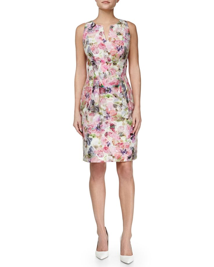 Kay Unger New York Floral-Print Sheath Dress, Pink Multi, Women's, Size: 4