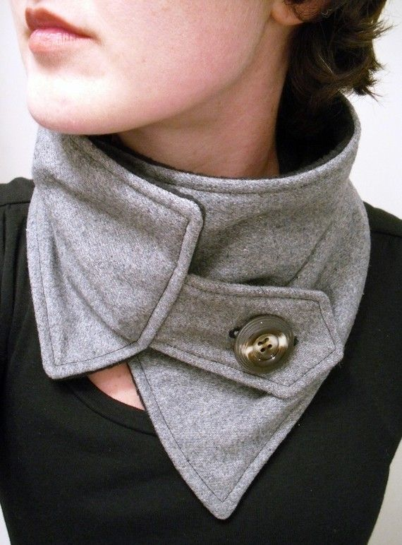 Asymmetric Gray Upcycled Recycled Neckwarmer Scarf with Brown Button