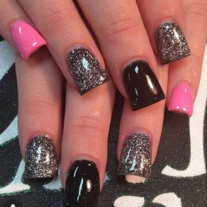 Black, glitter, pink nails | Hair & Makeup | Pinterest