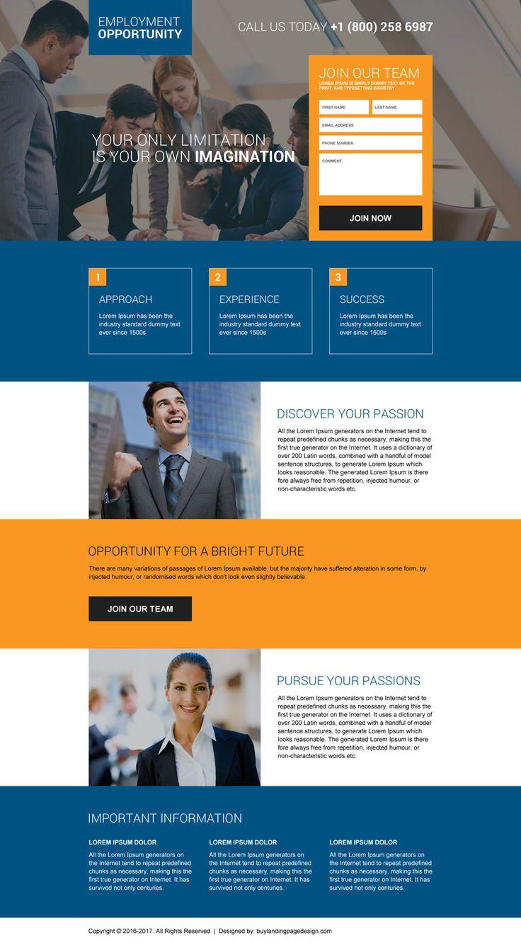 online employment opportunities responsive landing page design