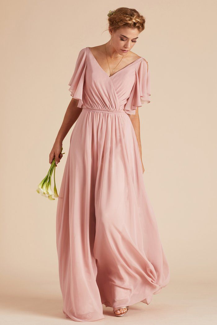 4a4e2b9d19 Muggsy bridesmaid dress with ruffle flutter sleeves in dusty rose by Birdy  Grey. Under  100