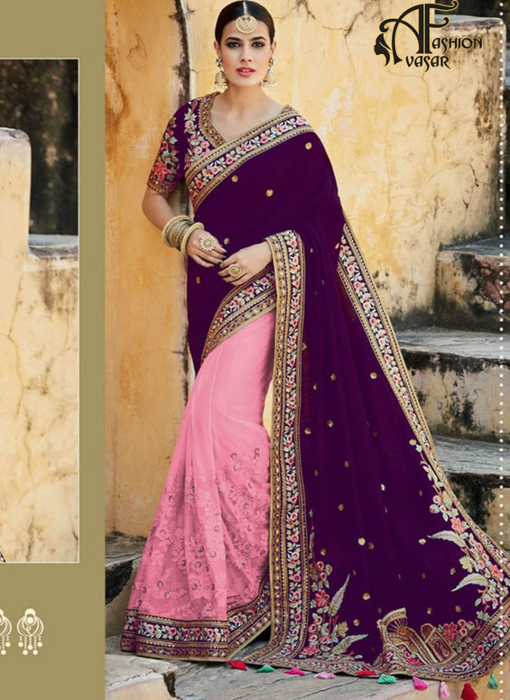 Purple Saree With Green Border