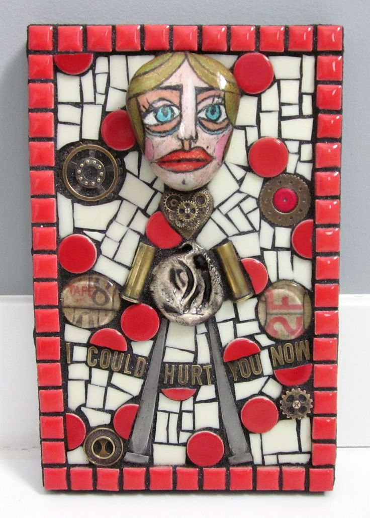 'I COULD HURT YOU NOW' mixed media mosaic art contemporary outsider art modern art red she persisted itmfa art doll