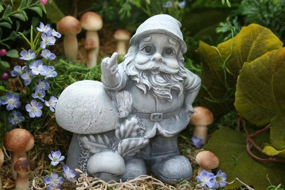 Funny Garden Gnome Giving the Finger Rude Gnomes by PhenomeGNOME, $49.99
