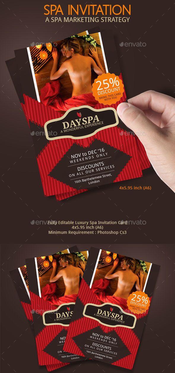 Spa Voucher Invitation Design - Invitations Cards & Invites Template PSD. Download here: http://graphicriver.net/item/spa-voucher-invitation/16506185?s_rank=882&ref=yinkira
