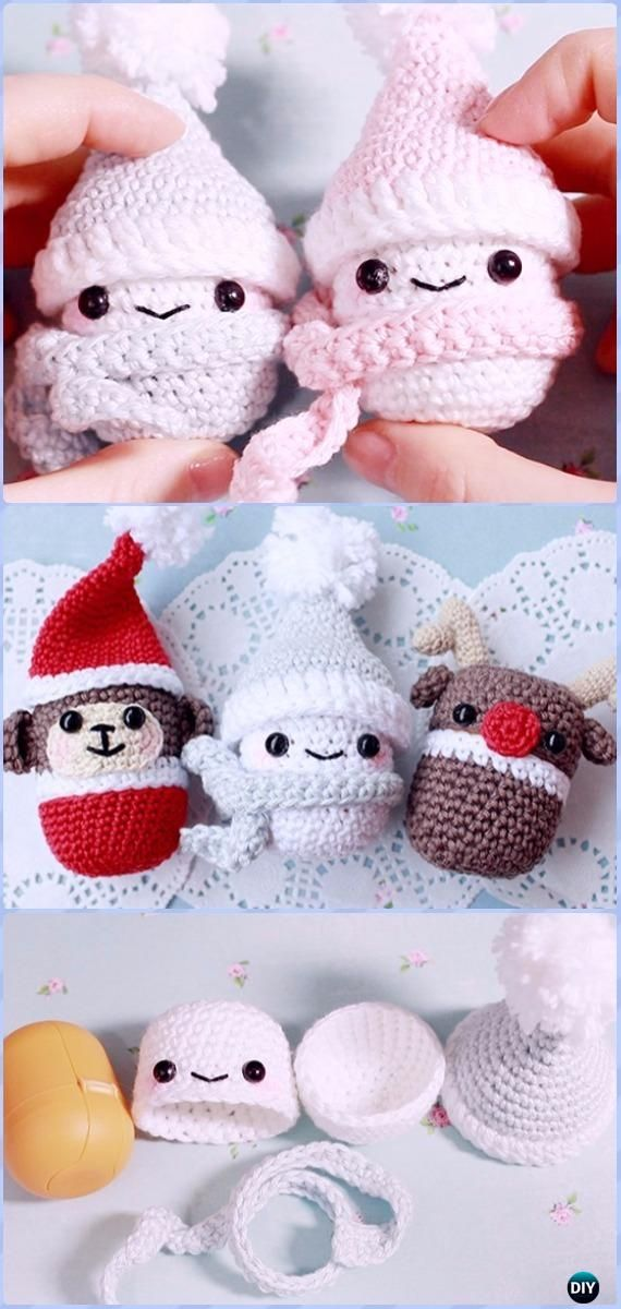 Crochet Kinder-Surprise Container Snowman Free Pattern & Video - Amigurumi Crochet Snowman Stuffies Toys Free Patterns
