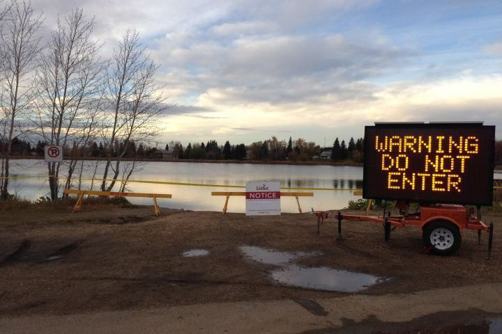 Leduc residents are being asked to stay away from a small lake following a chemical spill. Example of environmental chemistry