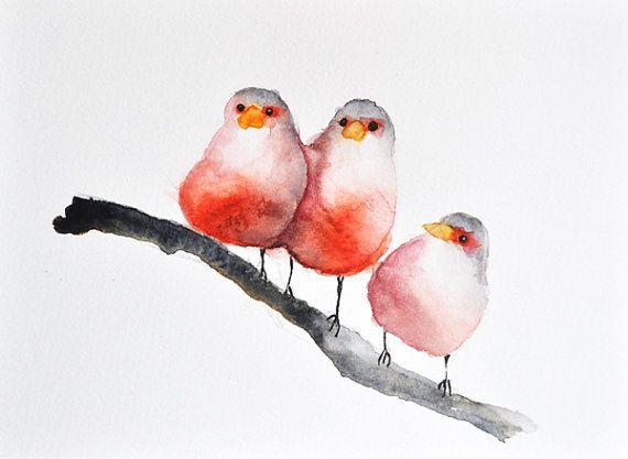 Oiseaux rouges  peinture aquarelle originale / art aviaire /