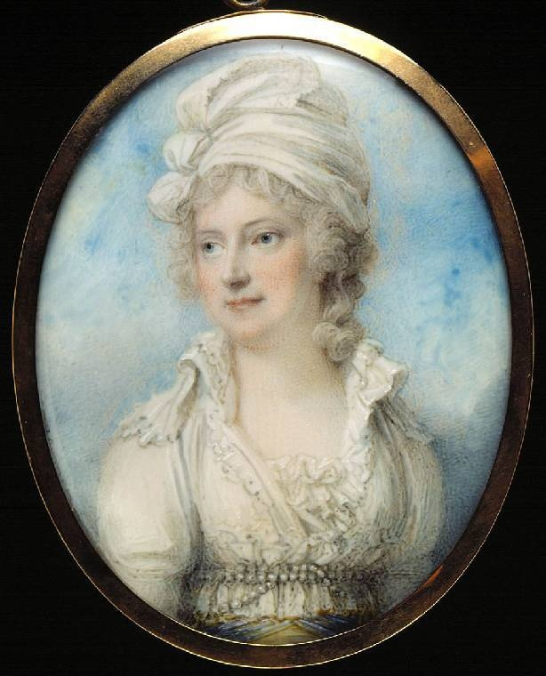 Maria Marowe, Lady Eardley, miniature by Richard Cosway. Watercolor on ivory. (1793)