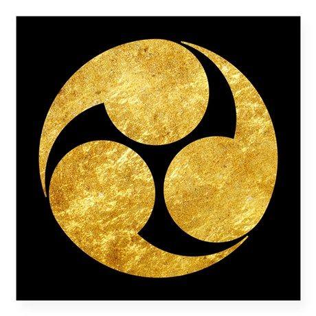 Kobayakawa Mon Japanese clan gold on black Sticker on CafePress.com