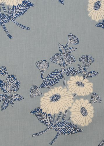 Collection: Batik Pattern: Floral Style No: 2841 Color: Indigo Content: 100% linen Width: 54 in Repeat: 28 in