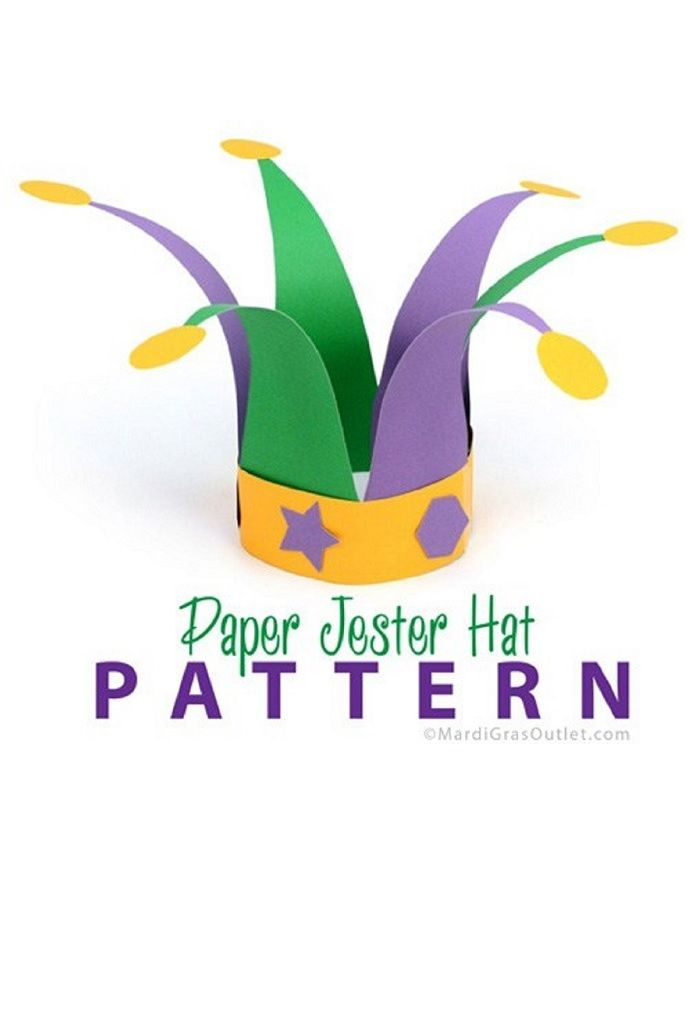 Use colorful construction paper to easily make JESTER HATS for your Mardi Gras celebration