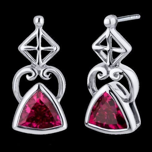 Red Ruby Trillion Cut Arch Sterling Silver Earrings