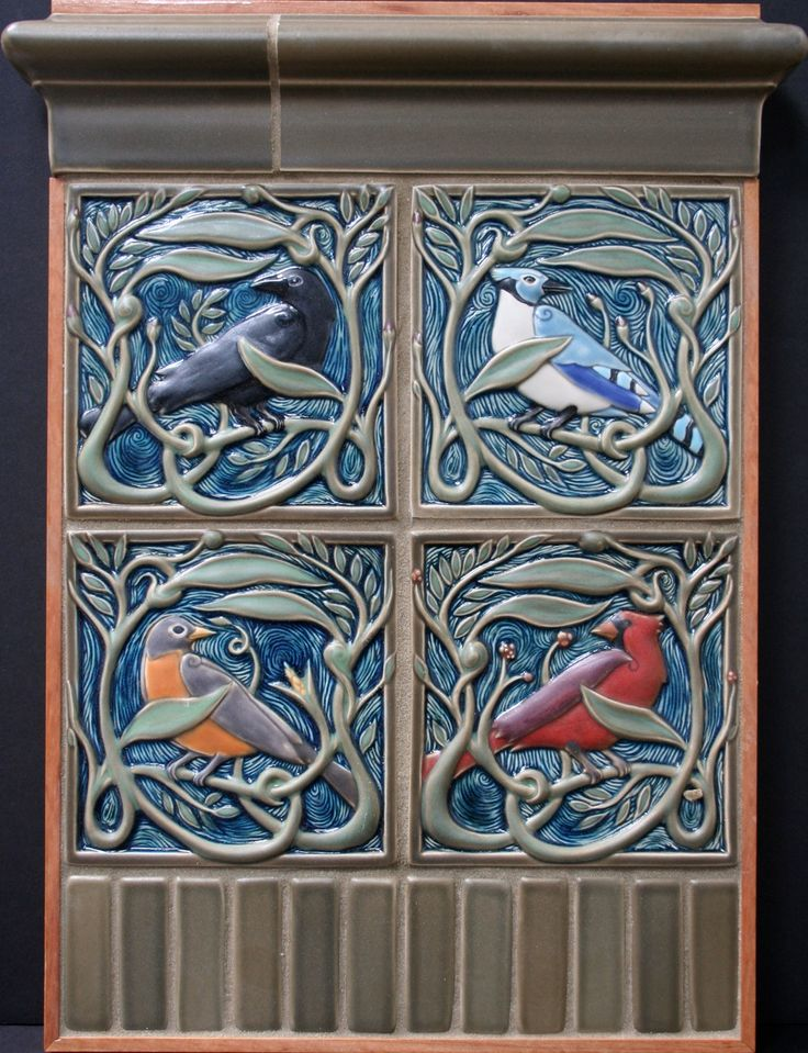 A beautiful grouping of birds from Rookwood Tiles