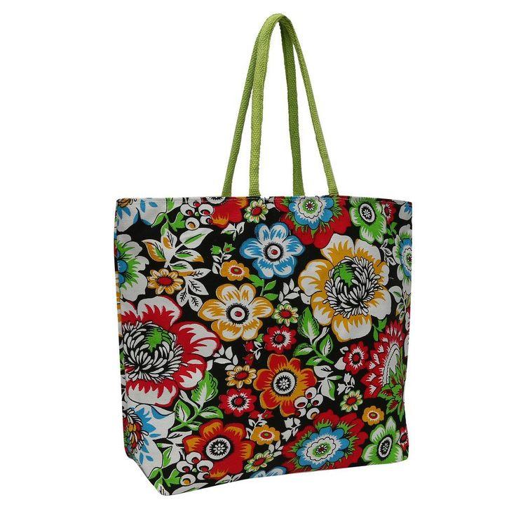 #Estilo Store #Black #Floral Jute #Hand #Bag