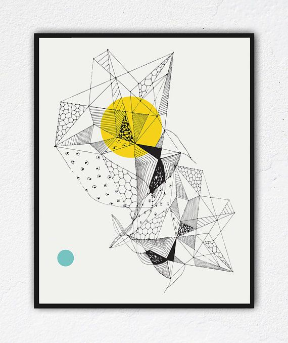 Faceted, Triangle art, Geometric art prints, Wall art, abstract drawings, unique art, black and white, Pen & Ink drawing, Geometric Decor