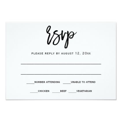 RSVP / Reply Postcard | Brush Calligraphy (Black) - calligraphy gifts custom personalize diy create your own