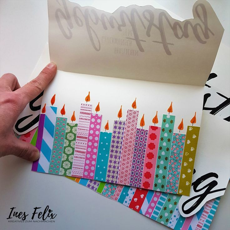 Birthday card with candles from masking tape. Colorful…