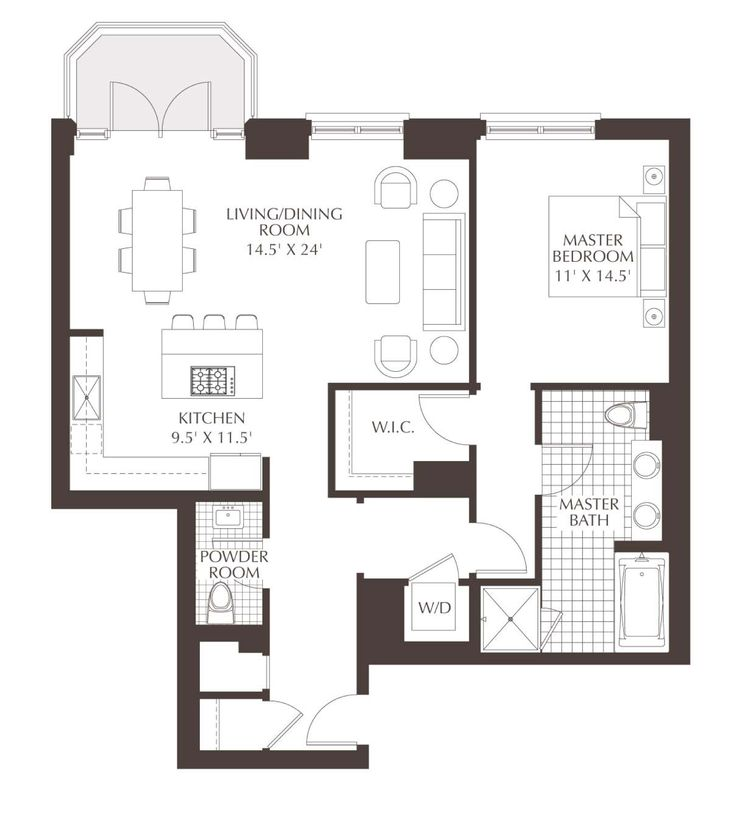 Luxury Condo Floor Plans | Unit A3: A 1 bedroom, 1/5 bath