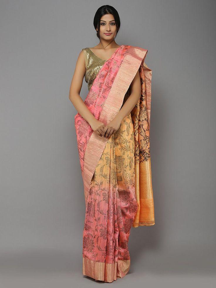 Peach-Pink-Yellow Ombre Handwoven Dupion Silk Saree