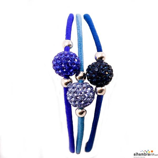 Pulsera Elastica Cristal Tricolor Azul
