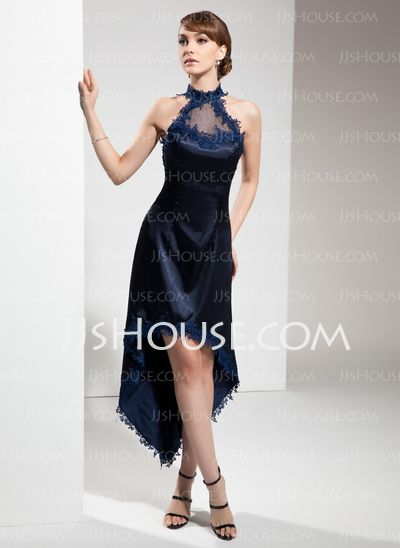 Cocktail Dresses - $136.99 - A-Line/Princess Halter Asymmetrical Tulle Charmeuse Cocktail Dress With Lace (016008531) http://jjshouse.com/A-Line-Princess-Halter-Asymmetrical-Tulle-Charmeuse-Cocktail-Dress-With-Lace-016008531-g8531