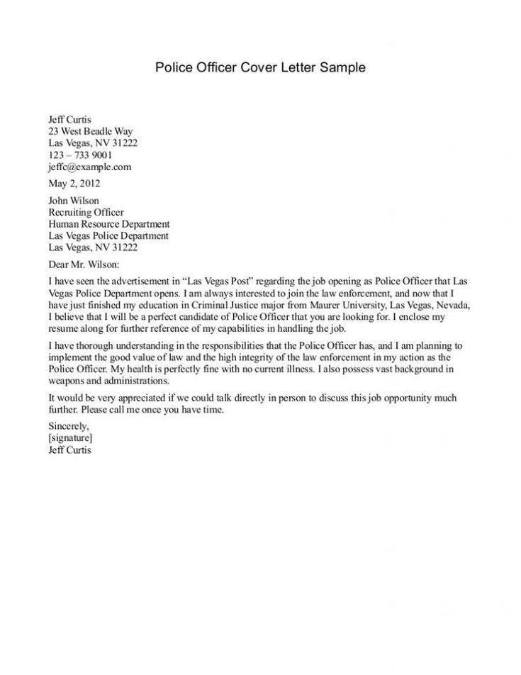 cover letter template law enforcement
