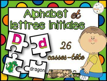 26 casses-têtes sur les lettres initiales et l'alphabet. L'élève doit compléter le puzzle composé de la lettre majuscule, la lettre minuscule, un mot commençant par cette lettre et une image représentant le mot.
